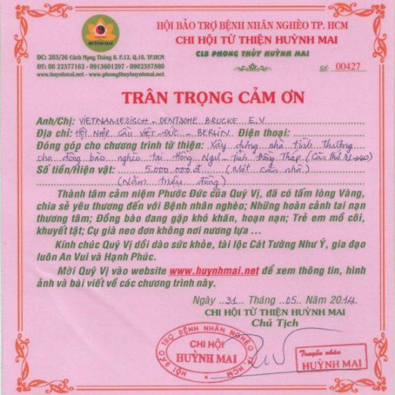 Spendenbescheinigung Huynh Mai 2014
